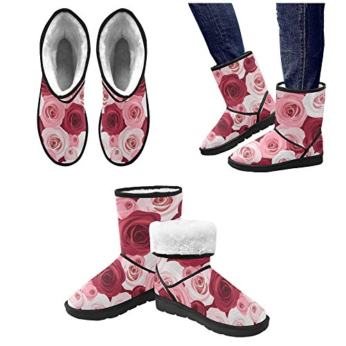 Stripe Pattern Colorful Womens 12 Boots Rose InterestPrint 5 Snow Geometry Size Print 5 Color1 On Bike Classic Flowers qvFRY4
