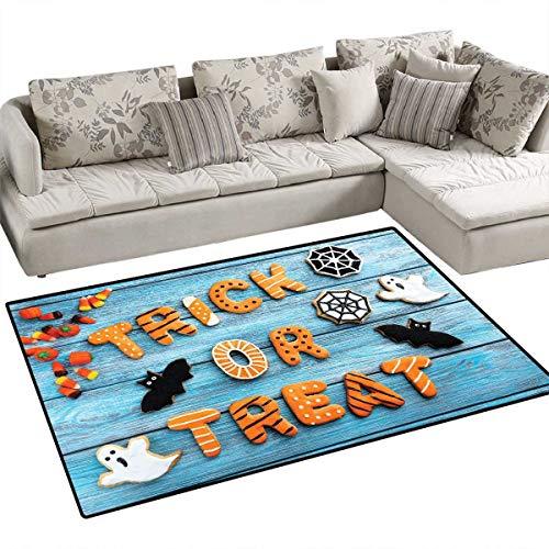 Vintage Halloween Room Home Bedroom Carpet Floor Mat Trick or Treat Cookie Wooden Table Ghost Bat Web Halloween Floor Mat Pattern 40