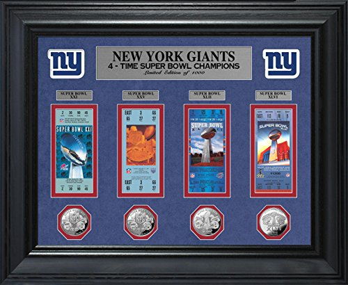 The Highland Mint NFL New York Giants Super Bowl Ticket & Game Collection Framed Coin, Silver, 32