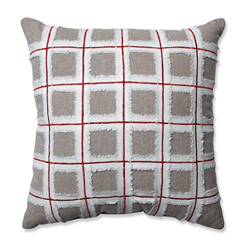 Pillow Perfect Country Home Grid Red Biscuit 15.5-inch Throw Pillow