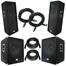 """Seismic Audio - AftershockPKG1 - Pair of Dual 15"""" PA Speakers, Pair of Powered 18"""" Subwoofers with Speaker and Microphone Cables - PA/DJ Package"""