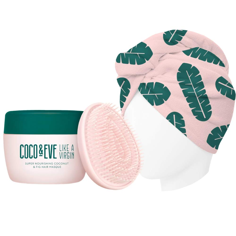 Coco & Eve That's A Wrap Bundle. Hair Mask, Tangle Tamer and Microfiber Hair Towel Wrap for All Hair Types