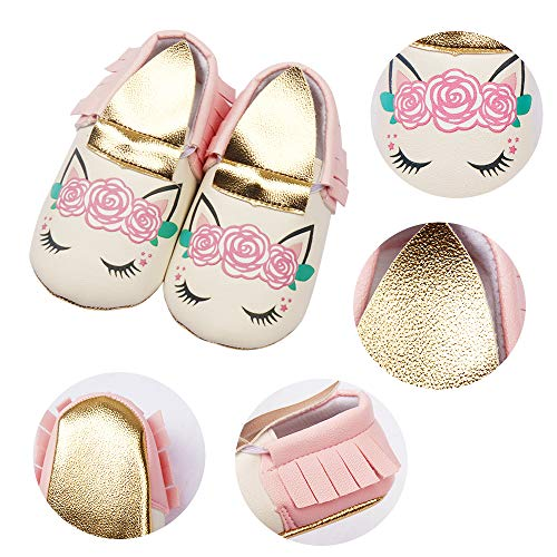 Baby Girl Unicorn Dress Shoes Marry Janes Walking Anti-Slip Crib Falt Soft Sole PU Leather Infant Toddler for 0-18 Months (12cm/4.72inches 6-12 Months)