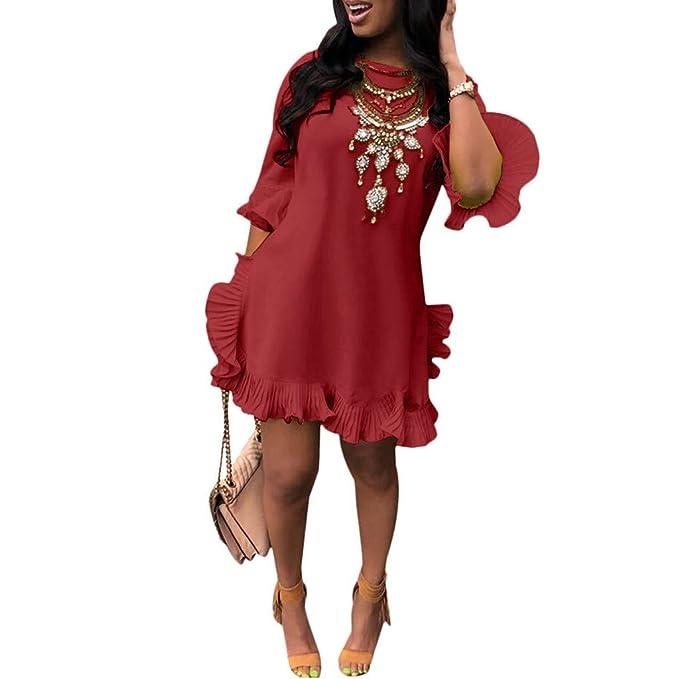 🌷🌷🌷Mujer Ocio Sexy Color SóLido Falda Plisada Irregular ...