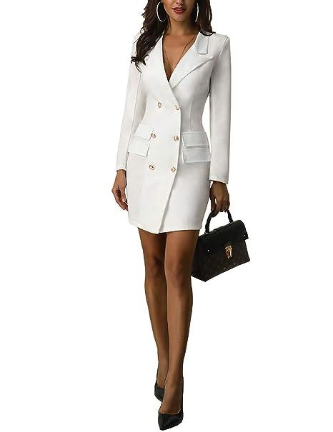 Amazon.com: Chicme - Vestido de chaqueta con doble pecho ...