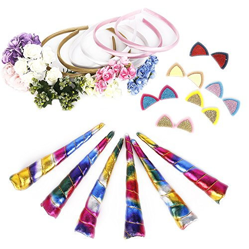 Shiny Spiral Unicorn Horn 6 Pack DIY Set For Party Cosplay Photograph DIY Handmade Craft (Rainbow Color)