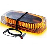 Zone Tech Emergency Warning LED Mini Bar Strobe Light - Premium Quality Heavy Duty Amber Emergency Hazard Warning LED Mini Bar Strobe Light w/Magnetic Base