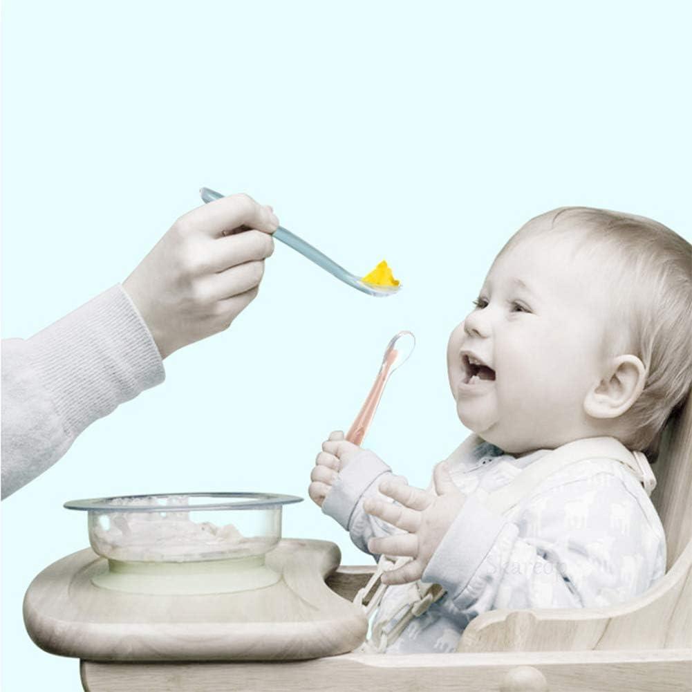 Skareop Silikonl/öffel f/ür Babynahrung und S/äuglingsentw/öhnung einfarbig sicheres Silikon 15.8cm*2.3cm rose