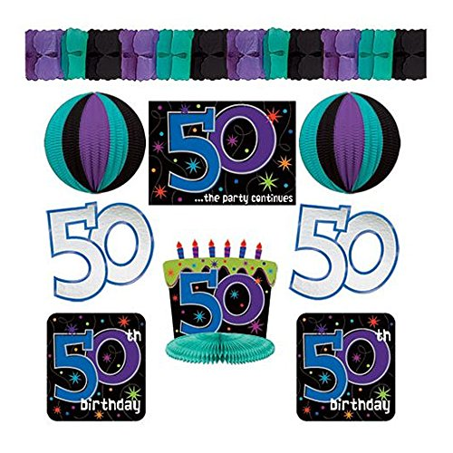 Amscan Party Decorations, The Party Continues - 50 Decorating Kit, Party Supplies, Multicolor, Multisize, 9ct