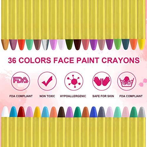 URAQT Crayones de Pintura Facial,Juego de Pintura Facial de 36 colores Para Niños para el Cuerpo con 30 Plantillas de Pintura, Perfecto para ...