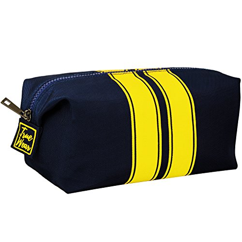 Toiletry Bag Shaving Dopp Kit for Men Navy Blue with Yellow stripes – Stylish Unique Travel Organizer Wash Bag build for your needs