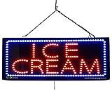 LARGE LED OPEN SIGN - ''ICE CREAM'' 13''X32'' size, ON / OFF / FLASHING MODE (LED-Factory #2687fba)
