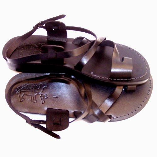 Unisex Volwassenen / Kinderen Lederen Bijbelse Sandalen / Flip Flops (jezus - Yashua) Zwarte Stijl I- Heilige Landmarkt Kameel Handelsmerk
