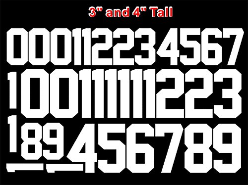 """Numbers Kit(0-9),3"""" and 4"""" Tall for Sports T-Shirt Jersey Football Baseball,Iron On, Heat Transfer, Team,t-Shirt(Style A) (White(0-9))"""