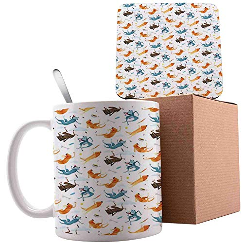 Funny Dogs Flying with Food Bowl and Bones Pets Companion, Slate Blue Ginger and White;Ceramic mug with Spoon & Coaster Creative Morning Milk Coffee Tea Porcelain 11oz gifts for family