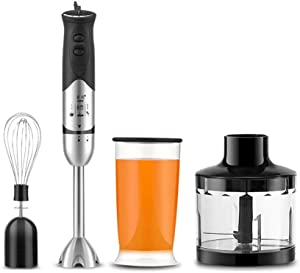 YXIUER Hand Blender, Immersion Blender with Whisk, 304 Stainless Steel Stick Blender, Minced Meat Cup 500Ml, Stainless Steel Blade, for Smoothies, Sauces, Soups, Baby Food