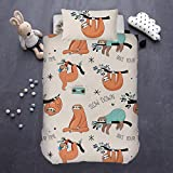 ARIGHTEX Sloth Duvet Cover 2 Piece Teen Woodland Animals Bedding Orange Sloths Hanging From Trees Cute College Dorm Bed Sets (Single)