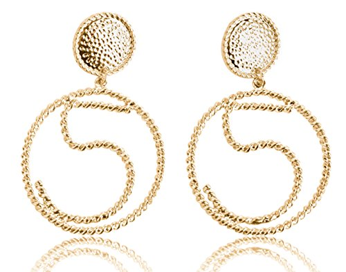 [MISASHA Celebrity Designer number five gold plated hoop earrings studs] (Costume Caviar)