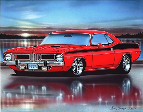 1973 Plymouth Cuda 340 Muscle Car Art Print Red 11x14 Poster