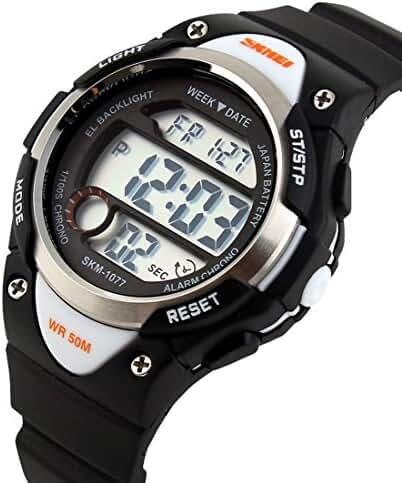 Takyae 2016 Children Watch Outdoor Sports Kids Boy Girls LED Digital Alarm Waterproof Wristwatches Children's Dress Watches Black