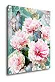 Ashley Canvas Postcard Flower Congratulations Card With Peonies Butterflies And Pearls, Kitchen Bedroom Living Room Art, Color 30x24, AG6613123