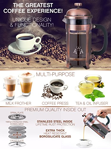 Copper French Press Coffee Maker Stainless Steel Cafetiere by King Koffee   34oz 1000 mL 8 Cups   Unique Extra Large Plunger   Antique Classic Edition   Milk Frother, Tea Infuser   Rust Free by VIKING (Image #7)