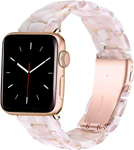 HomGoodz Compatible with Apple Watch Bands 38mm Women Stylish Resin Strap Bracelet with Stainless Steel Buckle Replacement for iWatch Band 40mm Series 6/5/4/3/2/1/SE Pink Flower