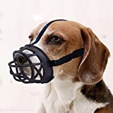Dog Muzzle,Soft Rubber Basket Muzzles for Dog to Inhibits Barking, Biting and Chewing (Size3-10.2/3.4in, Black)