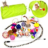 Youngever 20 Cat Toys Kitten Toys Assortments - 2 Way Tunnel - Cat Feather Teaser - Wand Interactive Feather Toy Fluffy Mouse - Crinkle Balls for Cat - Puppy - Kitty - Kitten