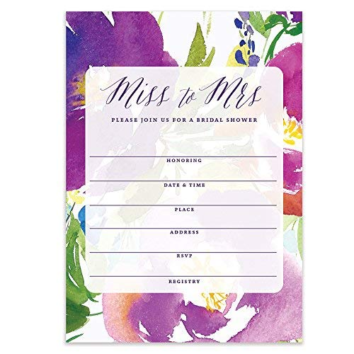 Miss to Mrs Bridal Shower Tropical Flower Watercolor Fill-in-Style Blank Invitations with Envelopes (Pack of 50) Large 5x7 Island Floral Blossoms Bride Wedding Party Excellent Value Invites VI0085 -