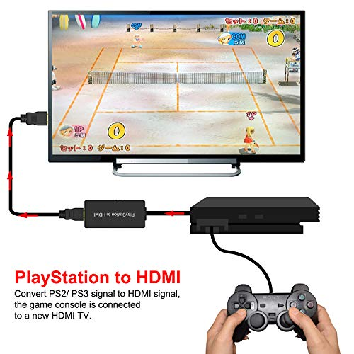 PS2 to HDMI Converter, PS2 to HDMI Adapter, Compatible Sony Playstation 2/Playstation 3 Connect a PS2 Game Console to a New HDMI TV