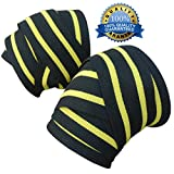 "xFitness 78"" Black & Yellow Elastic Knee Wraps for Powerlifting, Weightlifting – 1 Pair 2 Wraps - Premium Quality, Heavy Duty - Ultimate Knee Support – Effectively Avoid Injury While Training"