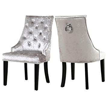 san francisco 46fbe e9b2e Warmiehomy Pair Crushed Velvet Dining Chairs Studded Accent Side Chair  Buttoned Kitchen Chair with Back Ring Knocker Chrome & Walnut Wood Chair  Legs ...