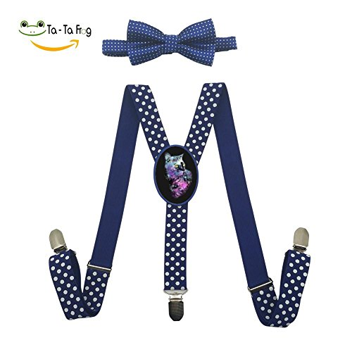 discount Grrry Children Space Starry Cat Adjustable Y-Back Suspender+Bow Tie hot sale