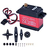 Quimat Update Servo 20KG Full Metal Gear Digital 180 Degree Control Angle Waterproof Servo for Robots Helicopter Airplane Car Truck Boat Controls with Accessories QY14