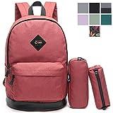 "CrossLandy Classic School Bookbag Lightweight College 15"" Laptop Backpack Set"