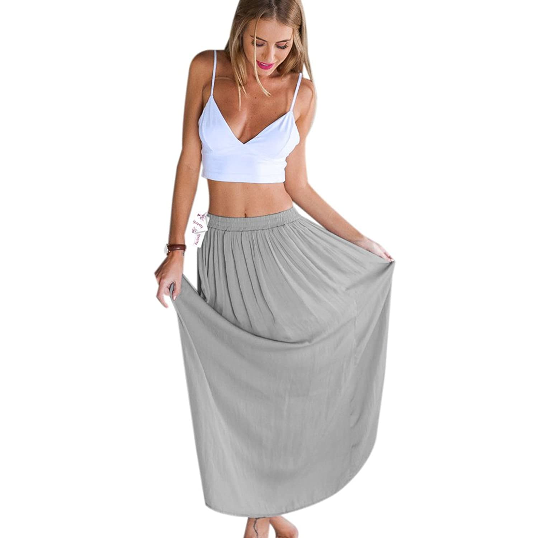 ipretty Sexy Damen Sommerkleid Ärmellos Damen strandkleider damen Kleid Rock Partykleid Cocktaikleid(Ein Set : Top +Rock)