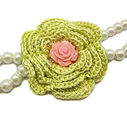 Alfie Pet by Petoga Couture - Senna Floral Double Layer Pearl Necklace for Dogs and Cats with Fabric Storage Bag, Color: Yellow Flower, Size: Medium