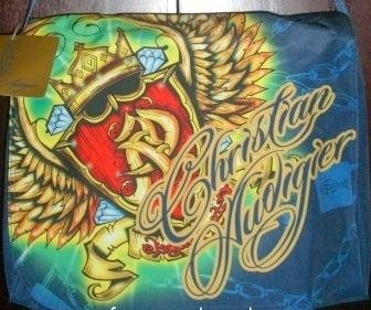 Ed Hardy Christian Audigier Laptop Messenger Bag w/ Swarovski Crystal Bling ()