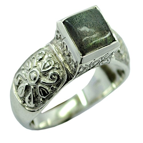 Jewelryonclick Natural Labradorite Sterling Silver Wedding Rings for Women In Size - Labradorite Marquis
