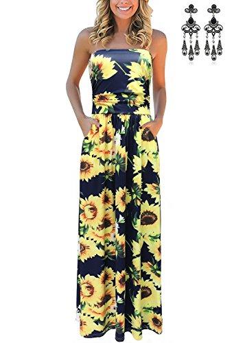 carinacoco Bretelle Longue Couleur Bohme de Robe 14 t Bustier Plage Imprim Robes Femmes Floral Maxi Robe sans SqrRpSWOH