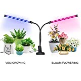 Cheap [2018 UPGRADED] 18W Dual Head Timing LED Grow Lamp 36 LED Chips 2-Mode with Red/Blue Spectrum for Indoor Plants, Timer 3/6/12H, 5 Dimmable Levels, Adjustable Gooseneck