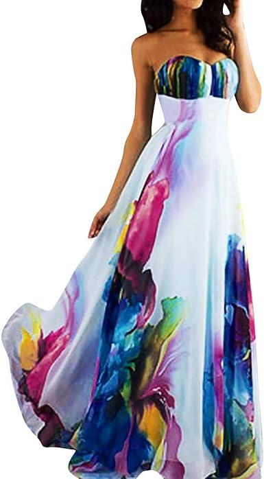 iHHAPY Womens Dress Printing Chiffon Elegant Tube Maxi Dress Party Evening Dress