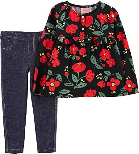 Carter's Girls' 2-Piece Long Sleeve Top and Jegging Sets (Black Red/Floral Poplin, 4T)