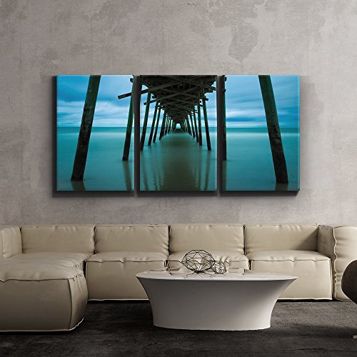 3 Piece Canvas Print - Contemporary Art, Modern Wall Decor - Peaceful jetty leads into ocean - Giclee Artwork - Gallery Wrapped Wood Stretcher Bars - Ready to Hang- Wall26 ()