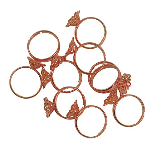 MagiDeal Adjustable Ring Blanks, Cabochon Rings Settings, Pack of 10, fit 12x5mm Oval Glass Cabochons,Cameo, Buttons, Ring Bezels, Filigree Flower Bank Ring Base - Rose Gold