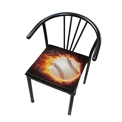 FICOO Home Patio Chair Cushion Fire Baseball Pattern Square Cushion Non-Slip Memory Foam Outdoor Seat Cushion, 16x16 Inch: Home & Kitchen