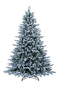 ABUSA Pre Lit Christmas Tree 9 ft Flocked Snow with 900 LED Clear Lights 2497 Branch Tips Realistic Faux Xmas Tree