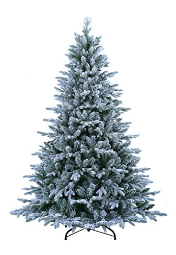 ABUSA Flocked Prelit Artificial Christmas Tree 7.5 ft Snowy Spruce with 700 LED Clear Lights 1452 Branch Tips by ABUSA