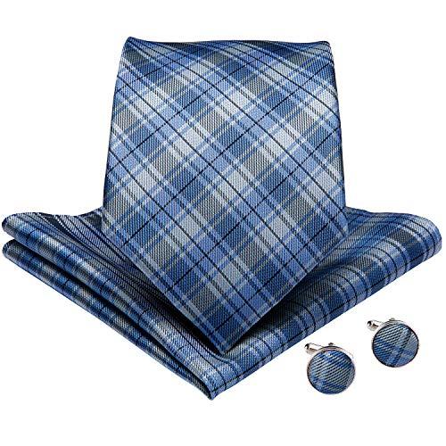 - DiBanGu Large Tie for Men Silk Tie and Pocket Square Cufflink Set Plaid Neckties (Light Blue)